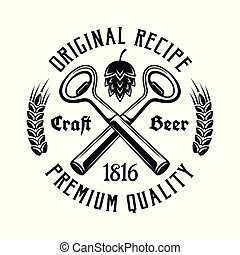Beer vector emblem with two crossed bottle openers