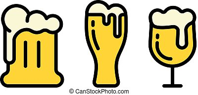 beer vector icons collection