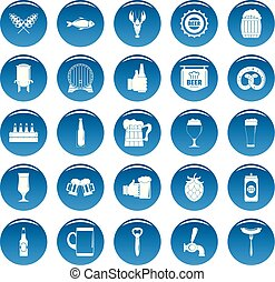 Beer vector icons set blue, simple style