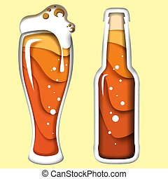 Beer vector illustration in paper art style