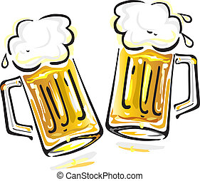 Beer - Vector illustration of two beer mugs isolated on...