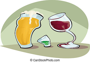 Beer vs Wine - Cartoon Vector illustration of a pint of beer...
