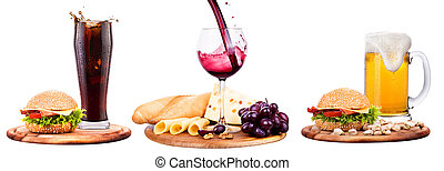 beer, wine, cola and food. Burger, cheese, bread, grapes