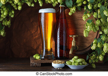 Beer with barrel, barley and hops