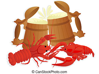 Beer with boiled crawfish - Two wooden mugs of beer and two...