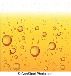 Beer with Foam and Bubbles. Vector Background