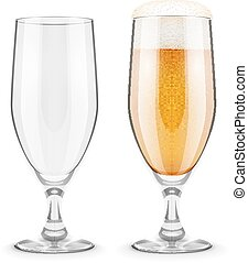 Beer with foam in glass goblet for pub drinking - Beer with...