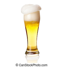 Beer with foam into glass isolated on white