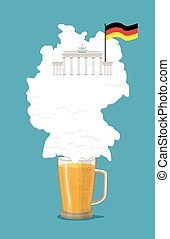 Beer with foam silhouette German map. Brandenburg Gate and flag of Germany. Vector illustration.