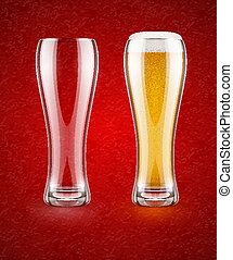 Beer with froth in the glass and empty transparent goblet...