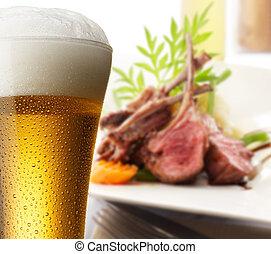 beer with lamb rack