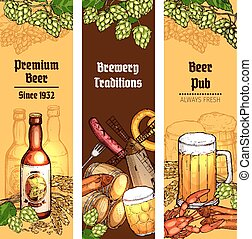 Beer with snacks banner for pub, brewery design