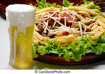 Beer with snacks, french fries...
