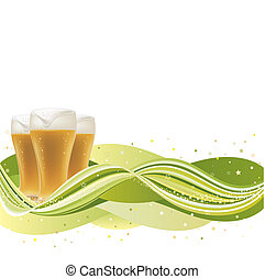 vector background for beer with green wave