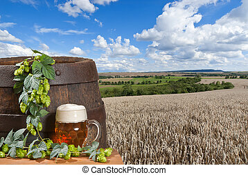 beer with wheat field