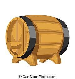 Beer wooden barrel on white background.