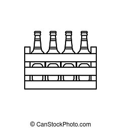 Beer wooden box icon, outline style