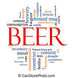 Beer Word Cloud Concept with great terms such as frosted mug...