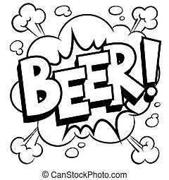 Beer word comic book coloring vector illustration