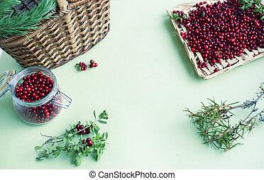 beeren, lingonberry, roh, herbst, tisch