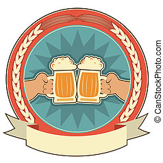 Beers label background with man hands on white. Vector symbol