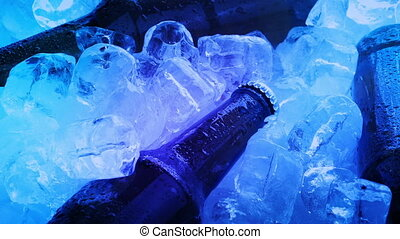 Beers On Pile Of Ice In Club Lights