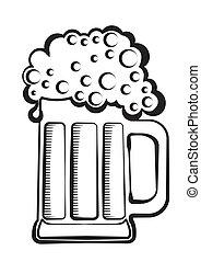 beer.vector, negro, gráfico, ilustración, de, vidrio, blanco