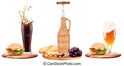 beer,wine,cola and food