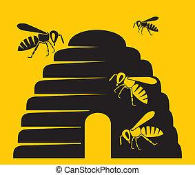 bees and beehive icon (beehive, bee icon, beehive symbol)