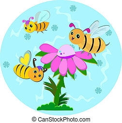 Bees and Flowers with Blue Backgrou