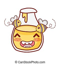 bees and honey bottle breakfast food cute kawaii isolated icon