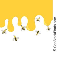 Bees and honey drip background