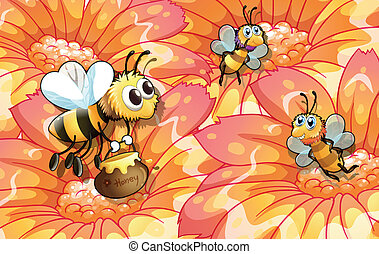 Bees collecting honey - Illustration of the bees collecting...