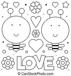 Bees. Coloring page. Black and white vector illustration.