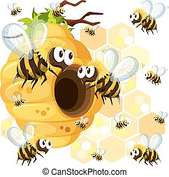 Bees flying around the beehive illustration