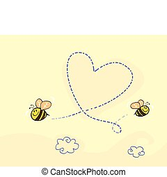 Bees making big love heart in the air. Art vector cartoon Illustration.