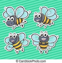 Bees - illustration of a set of many bees