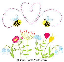 bees in love over the the flowers