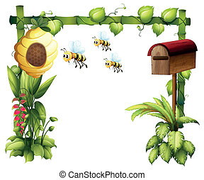 Bees in the garden with a mailbox