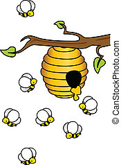 Image representing a bees in the hive, isolated on white, vector design.