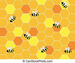 Bees in the Hive Working with Honeycombs