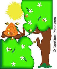 bees in trees cartoon
