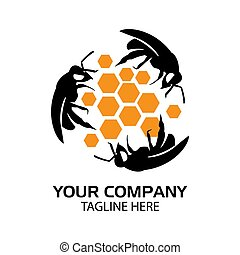Bees logo with honeycomb, flat design. Vector Illustration on white background