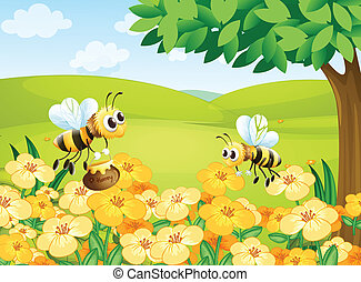 Bees looking for foods - Illustration of bees looking for...