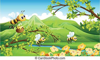 Bees near the mountain