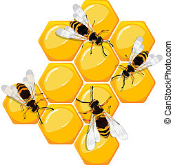 Bees on a honeycomb, isolated objects over white