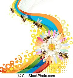 Bees over colorful background