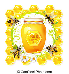 Bees with glass jar and honey over floral background...
