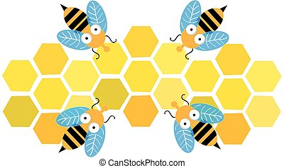 Bees with honeycomb  isolated on white background. Vector illustration.