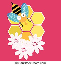 Bees with honeycombisolated on pink background. Vector illustration.